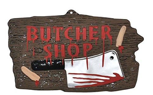 erdbeerparty - Halloween Dekoration- Metzger Fleischer Butcher Schild blutverschmiert- Blut Messer Party 1 Stk., 47x27cm, Mehrfarbig
