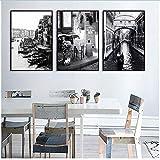 XingChen Imprimir en Lienzo 3x60x80cm Sin Marco Italia Sala de Estar Decoración Pintura Negro Blanco Venecia Ciudad Barco en el Lago Hotel Villa Cafe Decoración Pintura