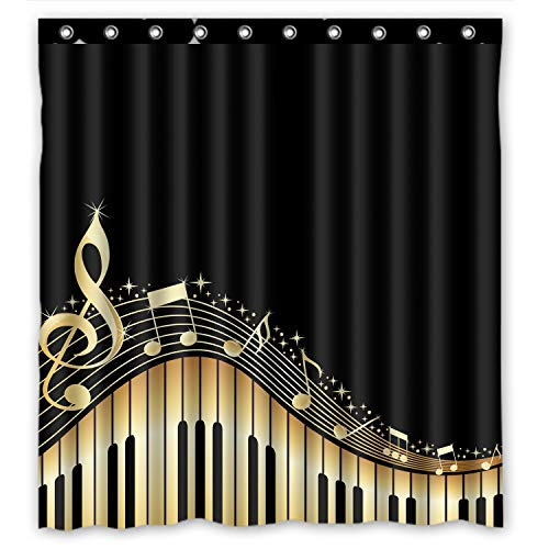 """Musical Notes With Piano Waterproof Fabric Polyester Bathroom Shower Curtain with 12 Hooks 60""""(w) x 72""""(h)"""