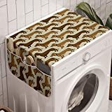 Ambesonne Dachshund Washing Machine Organizer, Continuous Pattern Pet Sausage Dog Lover Print, Anti-slip Fabric Top Cover for Washer and Dryer, 47' x 18.5', Grey Yellow Chocolate