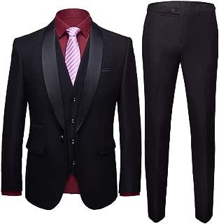 Men's Shawl Lapel 3-Pieces Suit Slim Fit One Button Dress Suit Blazer Jacket Pants Tux Vest