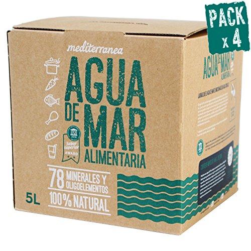 Pack de 4 uds Agua de mar alimentaria Mediterranea, envase eco de 5 Litros, aporta 78 minerales y oligoelementos, realza el sabor original de tus comidas sin necesidad de añadir sal