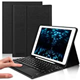 iPad 8th Generation Keyboard Case, D DINGRICH Touchpad Keyboard Folio Cover, Built-in Pencil Holder, for iPad 10.2 (8th/7th Gen), iPad Air (3rd Gen) and iPad Pro 10.5-inch, Black