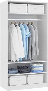 Festnight Garde-Robe Armoire Penderie Armoire de Rangement Blanc 100 x 50 x 200 cm Aggloméré