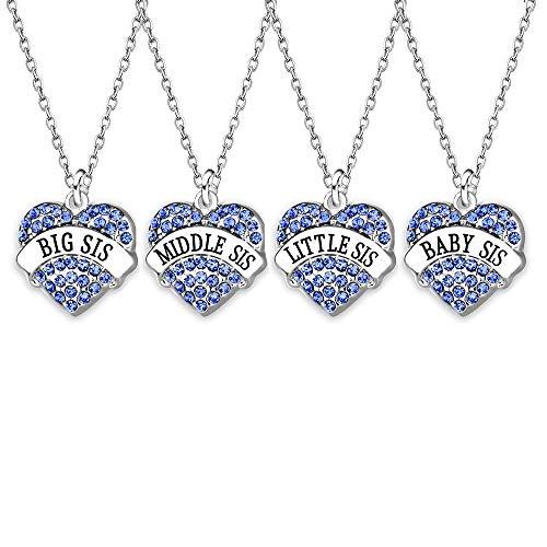 AGR8T Juego de 4 piezas de joyería familiar con colgante de collar grande y media pequeña hermana de bebé azul con dije de cristal para mujer