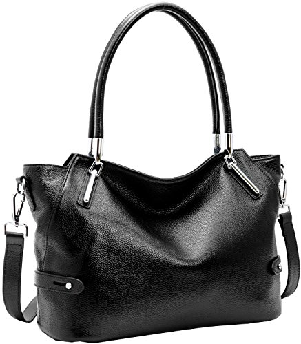 Heshe Women's Leather Handbag Shoulder Bags Work Tote Bag Top Handle Bag Ladies Designer Purses Satchel (Black-KR008)