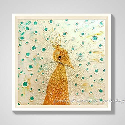 Muwan-YH Dekorative Kunst Handgemachte Ölgemälde Auf Leinwand Wohnzimmer Home Decor Wand Gemälde Melancholie Pfau Abstrakte Tier Bilder