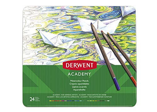 Derwent Academy Watercolor Pencils, 3.3mm Core, Metal Tin, 24 Count (2301942)