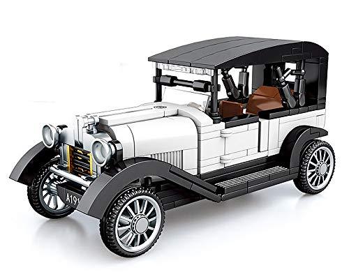 Brigamo Bausteine Auto, weißer Oldtimer, Konstruktionsspielzeug, 16 cm