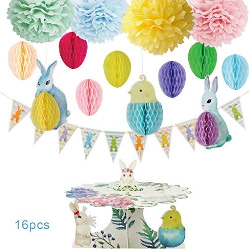 planuuik 1 Set Pasen Thema Konijn Vogel Dier Decoratie Ornamenten Pom Ball Driehoek Banner Cake Stand Houder Kit Festival Party Decor benodigdheden