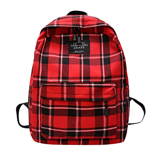 Unisex Plaid Printed Canvas Backpack Rucksack Casual Daypack Travel Camping Women Classic Lightweight School Bags for Teenage Girls (Red)