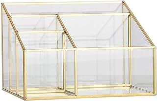 High quality Transparent Glass Makeup Storage Box Grid Jewel Case Cosmetic Organize Jewelry Display Beauty Tool Desk Ornam...
