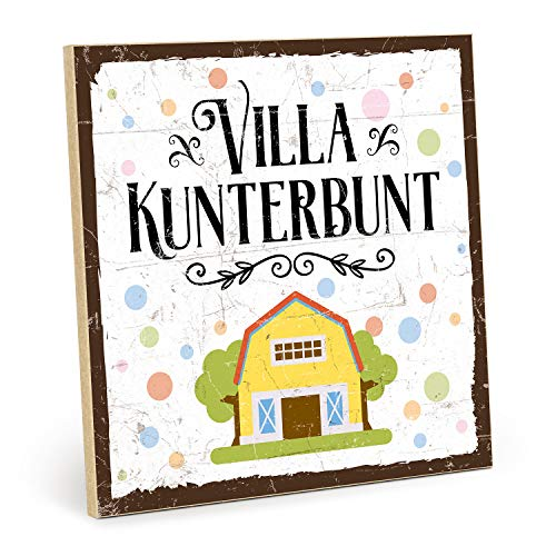 TypeStoff Holzschild mit Spruch – Villa KUNTERBUNT – im Vintage-Look mit Zitat als Geschenk und Dekoration (Größe: 19,5 x 19,5 cm)