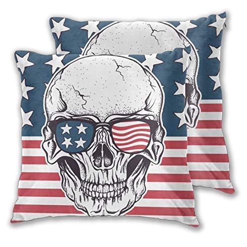 Funda de Almohada con Estampado 3D,Calavera Americana con Gafas de Sol en la Bandera de EE. UU. Vect,Funda de Almohada Moderna para sofá,sofá,Cama,Coche,decoración del hogar,18'x 18',2 Piezas