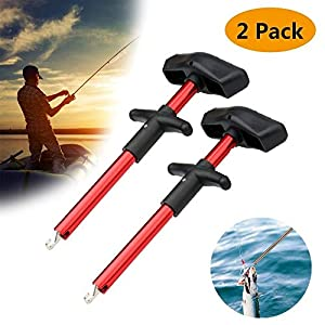 Meethome Easy Fish Hook Remover, 2019 New Squeeze-Out Fish Hook Separator Tools, Portable Easy Reach Aluminum Fishing Hooks Extractor (Red 2 Pack)