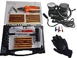 Kit de reparación de llantas de 32 piezas, incluye compresor de aire de 260 PSI 12 V, guantes y guantes, para automóviles, camiones, dos ruedas, triciclos