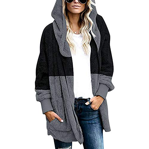 Covermason Femme Manteaux et Blousons Hiver Chaud Veste à Capuche Fausse Fourrure Long Cardigan Grande Taille Blouson Gilet Outercoat Chaud Jacket Sweat-Shirts Tops