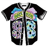 HOP FASHION Womens 90s Theme Birthday Party Baseball Jersey Short Sleeve Number 88 Print Dance Team Uniform Shirts HOPM007-126-XL