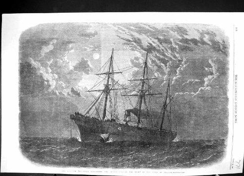 1866 Atlantik Bucht-Kabel-Schiffs-Mondschein Fernschreiber-Expeditions-Albaniens Auftrieb Gebender