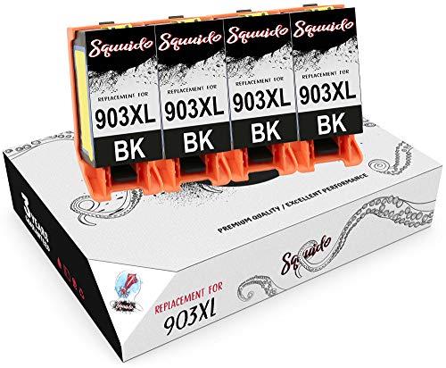 Squuido 4 Negro Cartuchos de Tinta T6M15AE 903 XL 903XL compatibles para HP OfficeJet Pro 6950 6960 6970 6975 | Alto Rendimiento