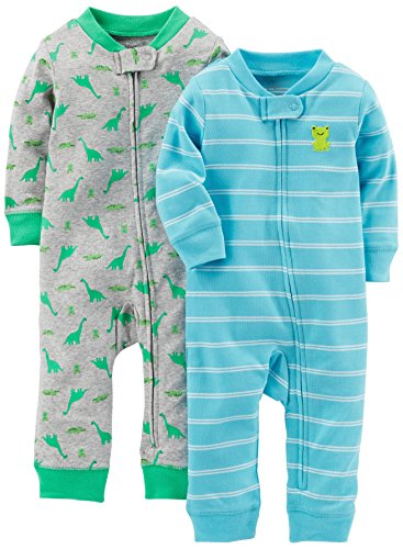 Simple Joys by Carter's Baby Boys' 2-Pack Cotton Footless Sleep and Play, Dino/Light Blue Stripe