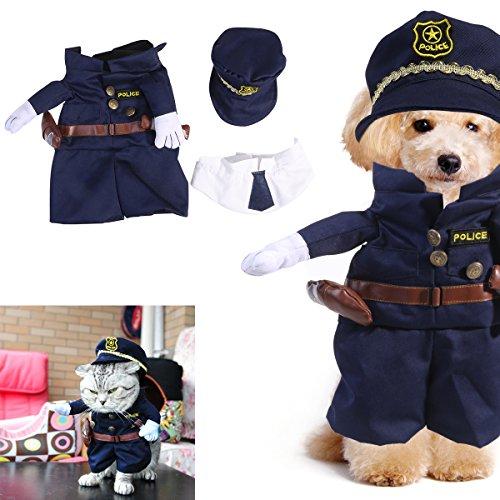 UEETEK Ropa para Mascotas del Traje del Gato del Perro de la Mascota Vestido de Lujo para Arriba del Juego del Agente de la policía Tamaño XL