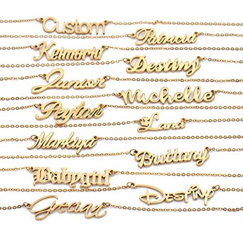 HUAN XUN Custom Word Name Necklace Danielle in Golden Silver