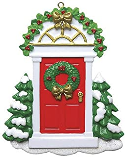 Personalized Red Door Christmas Tree Ornament 2019 - Snow Green Garnished Wood Our New Apartment Wreath 1st Elegant Front First Home Family House-Mate Room Neighbor Year - Free Customization