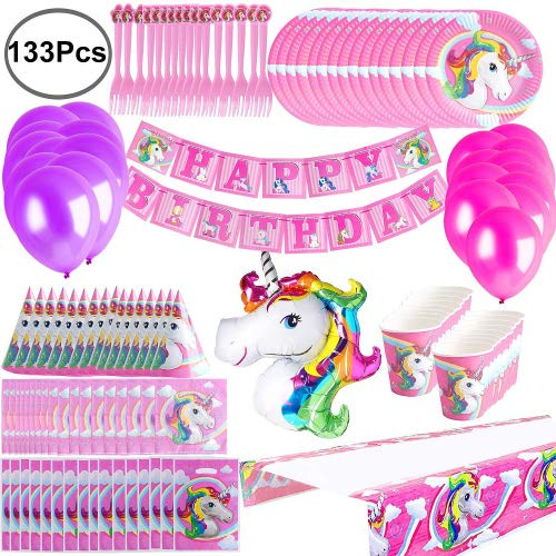 Defrsk Balloon Decoration Plates Napkins for Unicorn Birthday Party Supplies 133 Pack Hats Birthday Banner Bags Table Cover for Unicorn Themed Party Favours Kids Birthday Party Decor