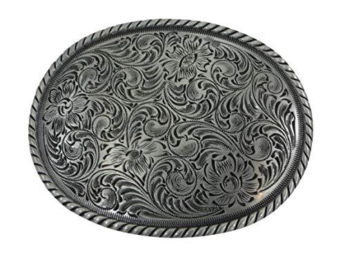 Apalero Floral ovalado antiguo, hebilla de cinturón Western Buckle Cowboy USA