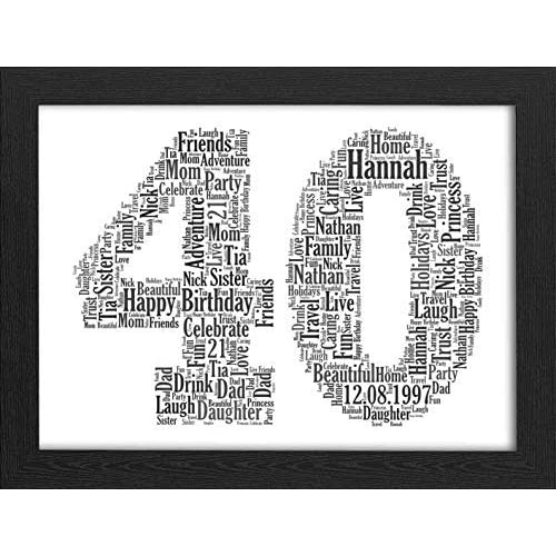 UPK Gifts 40th Birthday Personalised Print Gift Any Age Available 40 1st 16th 18th 21st 30th