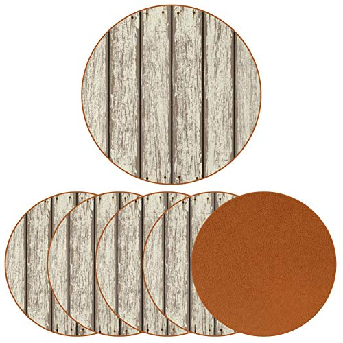 Coasters for Drinks, 6 Pieces Microfiber Leather Coasters,Best Reusable Natural Round Coasters for Bar Glass Cup Table, Non-Slip, Anti-Scalding,Board Gray
