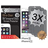 iPhone 6 Screen Protector, 3 pack Alia Tech™ Anti-Spy Privacy Tempered Glass Screen Protector iPhone 6, 0.3 mm, 2.5D Round Edges, Best & Easy Installation Screen Protector for iPhone 6 & 6s.