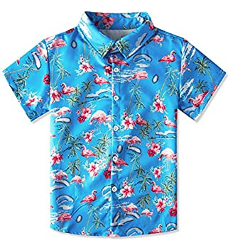 uideazone Big Boy s Dress Shirt Cute Flamingo Button Down Short Sleeve Cartoon Tropical Coconut Tree Top Kids Cool Hawaiian T-Shirt Blue Red