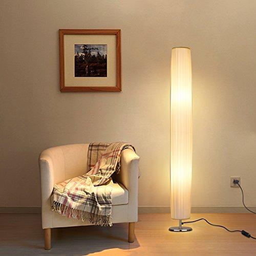 Albrillo Lámpara de Pie Moderna 120 cm - Lámpara de Tela Blanca con 2 Luces E27 de MAX. 60W, Interruptor de Pie y Base de Acero Inoxidable, Bombillas Excluidas, para Sala de Estar, Cilíndrica