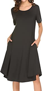 Women's Fall Casual Swing Dresses Long Sleeve T-Shirt Dress with Pockets
