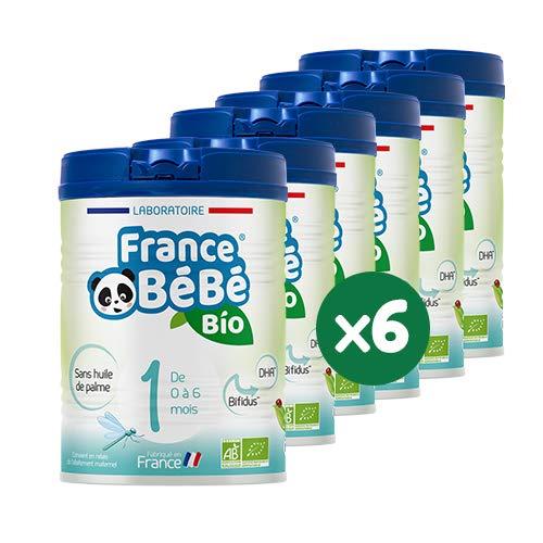 FRANCE BéBé BIO - Lait infantile pour bébé 1er âge en poudre 0 à 6 mois - Lait fabriqué en France - BIFIDUS - SANS HUILE DE PALME - Pack 6 boîtes de 800g