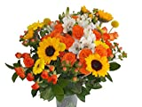 Edelweiss GJ Flowers Lava Orange Spray Rose Bouquet 33 Stems, 24 Inches Long, with Vase (Fresh Cut Flowers)