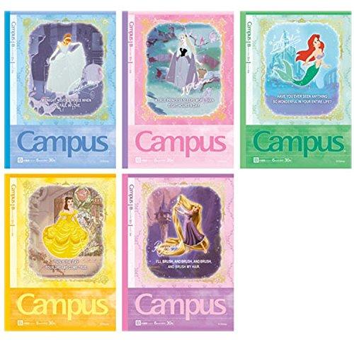 【ディズニー プリンセス】キャンパスノートドットB罫5冊パック(1)★Campus★