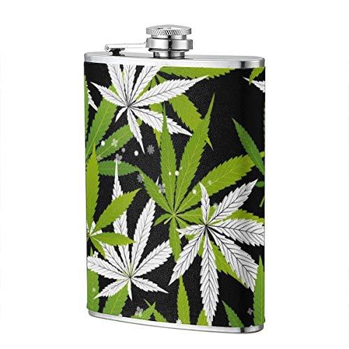 Trinkflaschen für Alkohol, Marihuana Green Leaf und Black Drawing Marihuana Seamless Pattern. Edelstahl Flachmann für Schnaps für Männer
