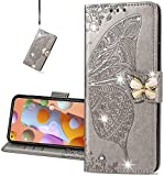 COTDINFOR Compatible with Xiaomi Poco X3 NFC Custodia Cover Crystal Bling PU Leather Card Slot Magnetic Lock Phone Cover per Poco X3 NFC Protettiva Case Diamond Butterfly Gray SD