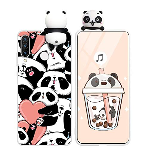 Yoedge für Huawei P Smart 2019 Hülle, 3D Karikatur Puppe Farbe Silikon TPU Schutzhülle Slim Stoßfest mit Cartoon Tier Muster Motiv Handyhülle Soft Case Cover für P Smart 2019 6,21', Panda 3