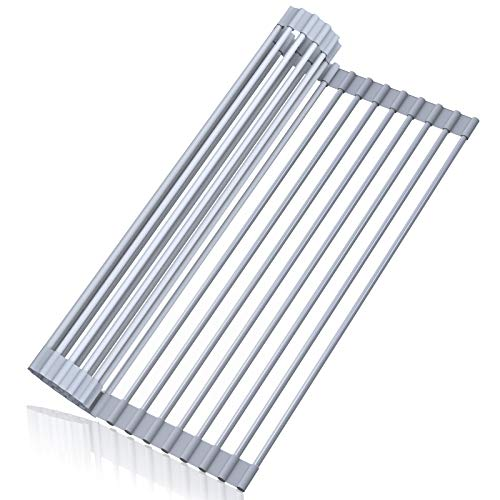 Dish Drying Rack STEELGEAR Roll Up Dish Rack Kitchen Dish Drainer Silicone Coated Stainless Steel Foldable Dish Rack Over The Sink - 17 x 13 inch