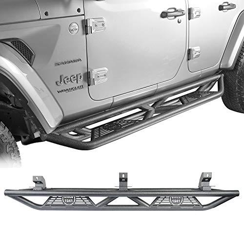 Hooke Road Wrangler JL Drop Side Steps Running Boards Nerf Bar Rock Rails Compatible with Jeep Wrangler JL 2018 2019 2020 2021 Unlimited 4 Doors