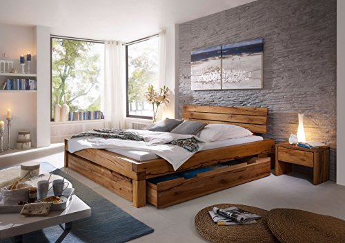 SAM Massives Balkenbett 160x200 cm Benjamin mit Bettkästen, geölter Wildeiche, Unikat mit geteilter Kopflehne