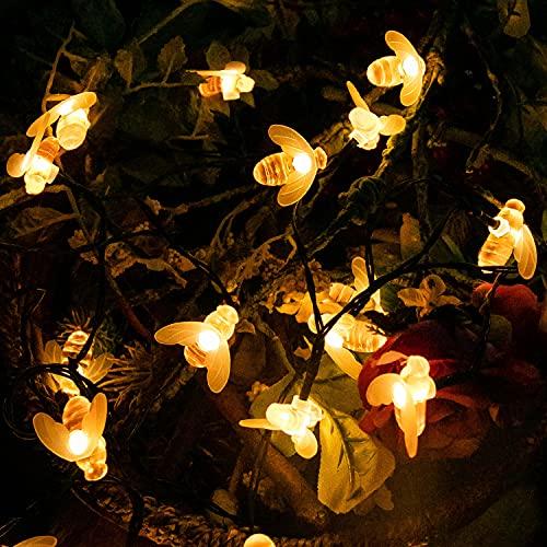 Solar Lichterkette Aussen, Bienen Lichterkette 50 LED 7M / 24Ft 8 Helligkeitsmodi, IP65 Wasserdicht Gartenlichter, Solar String Lights für Haus Patio Zaun Party Weihnachten Baum (Warmweiß)