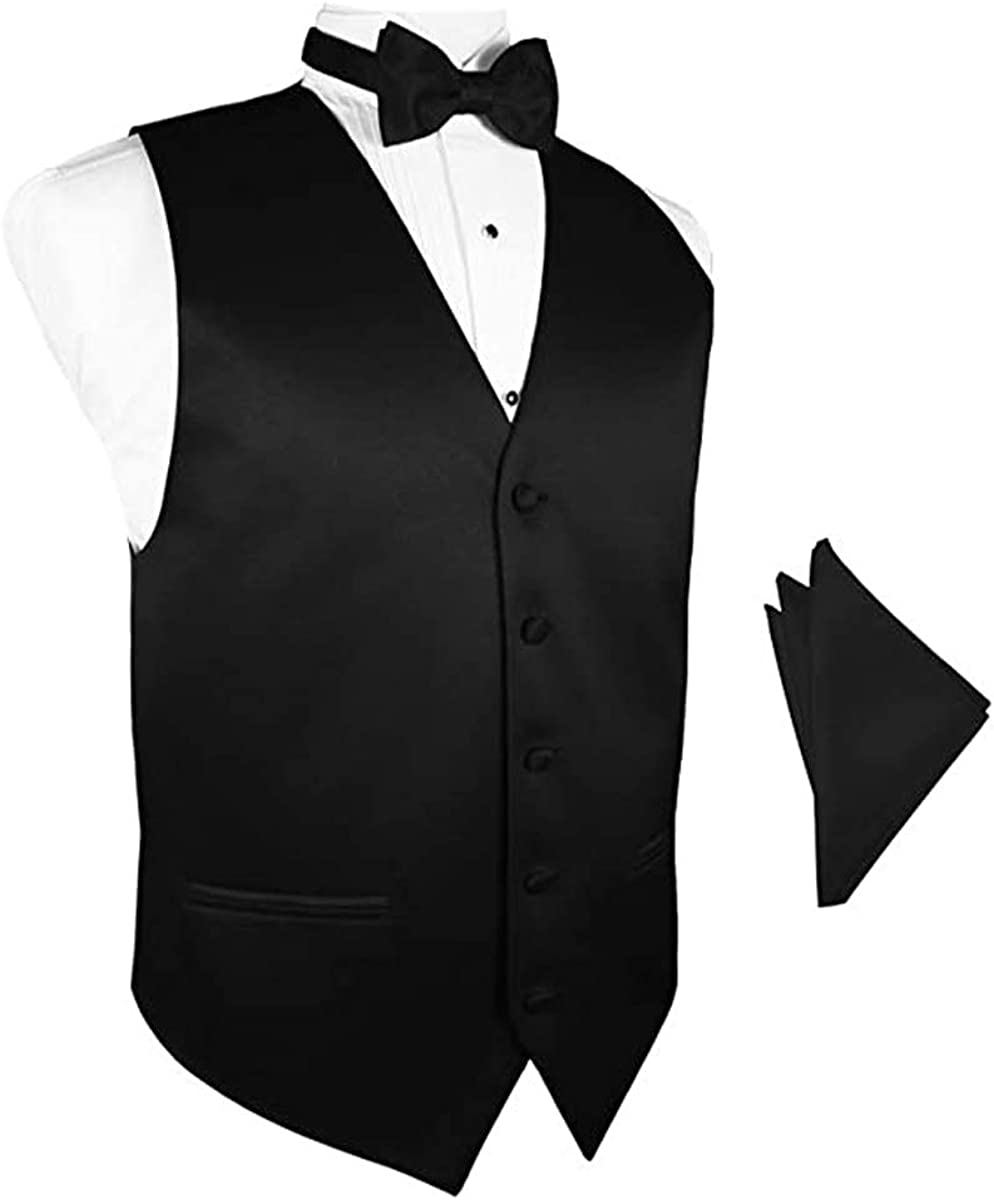 Black Satin Vest with Matching Bow Tie and Pocket Square