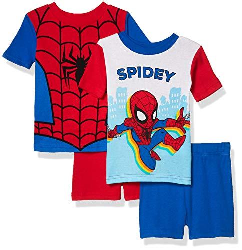 Marvel Boys' 4-Piece Cotton Pajama Set, Kid Spidey, 2T