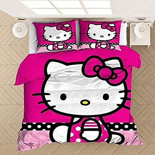 QWAS Hello Kitty - Juego de cama (funda nórdica de 220 x 240 cm y funda de almohada de 80 x 80 cm)
