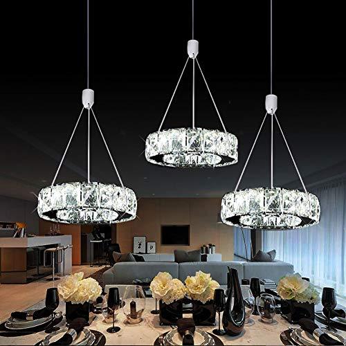 Siunwdiy LED Pendelleuchte 27W 3-Ringe Modern Hängeleuchte Höhenverstellbar Elegant Rostfreier Stahl Kristall Hängelampe Wohnzimmer Esszimmer Schlafzimmer Kronleuchter 3 * Ø20cm,White Light